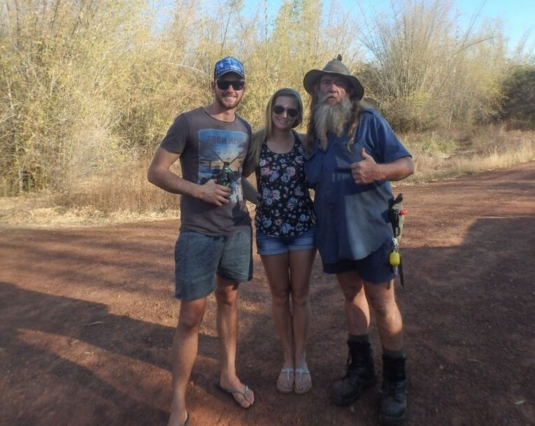picture with a guide on a jumping croc cruise in darwin australia