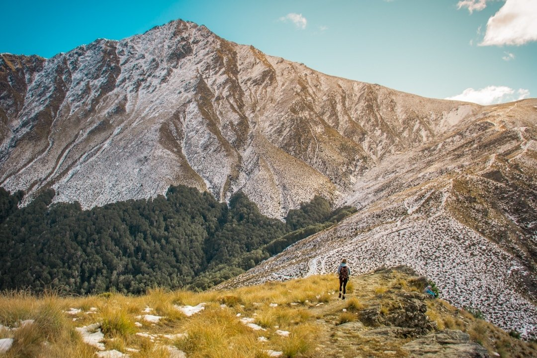 Heading towards the summit of Ben Lomond Mountain while hiking in Queenstown, New Zealand