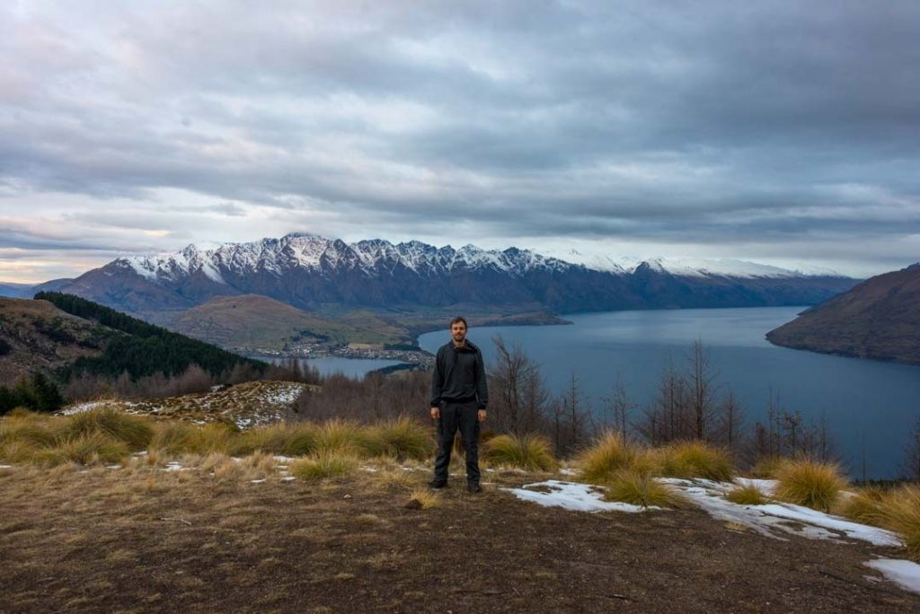 Standing at the top of the Fernhill Loop track looking over Queenstown and the Remarkables