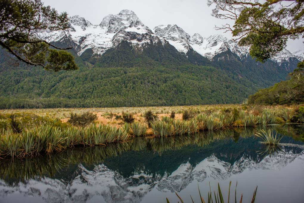 Mirror Lakes on the road to Milford Sound from Te Anau
