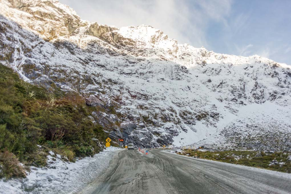Waiting at the Homer tunnel on a winters day in New Zealand
