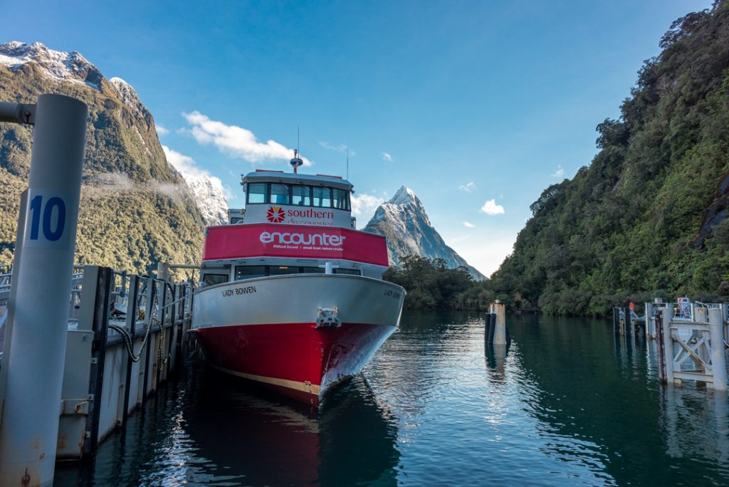 boarding the milford sound boat cruise