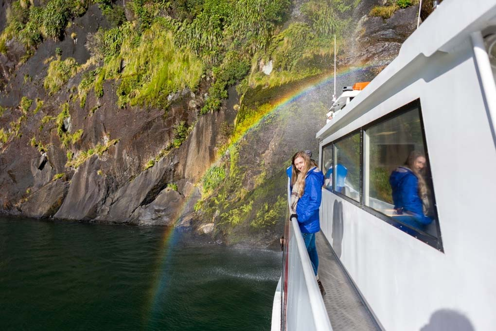 exploring milford sound on a boat