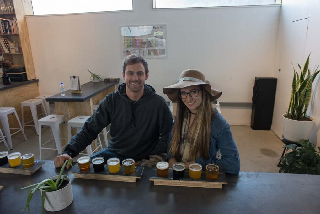 Our tasting paddle at Search Light Brewery