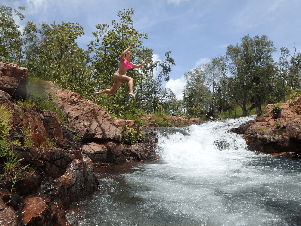 jumping in buley rockhole pools