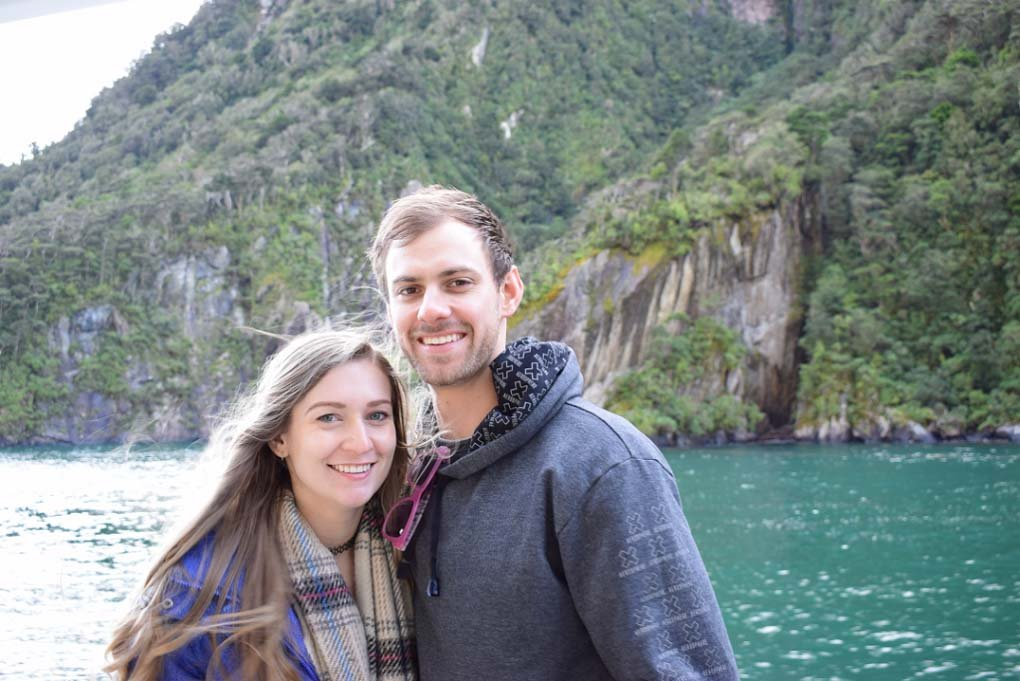 Daniel and I pose for a photo on our Milford Sound cruise
