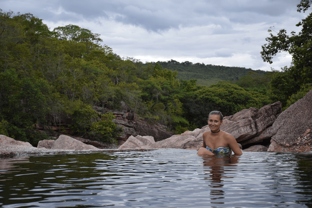 Bailey sitting in a natural pool in Chapada Diamantina National Park, in the Northeast Brazil region