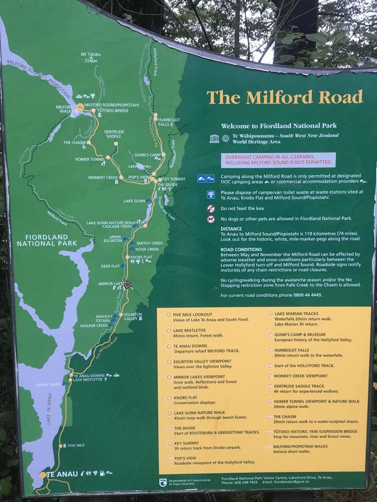 Map of the stops between Milford Sound and Te Anau
