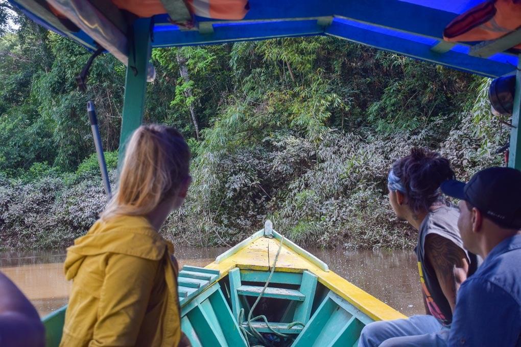Taking our boat to our retreat in the Amazon jungle near Puerto Maldonado