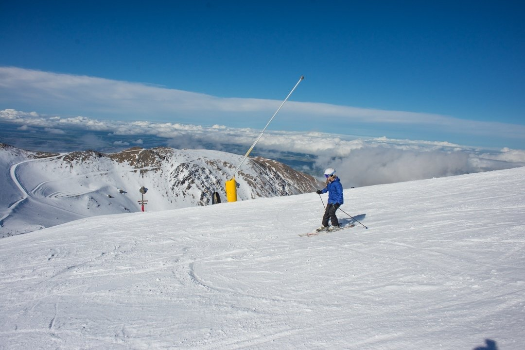 me skiing at mt hutt on our journey from Queenstown to Christchurch