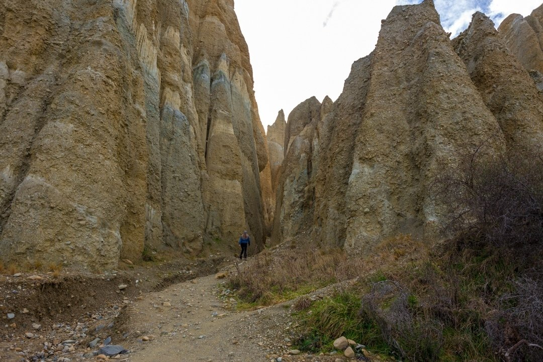 Exploring the clay cliffs new zealand. There is a small walk to do at the clay cliffs and even some climbing to a viewpoint.