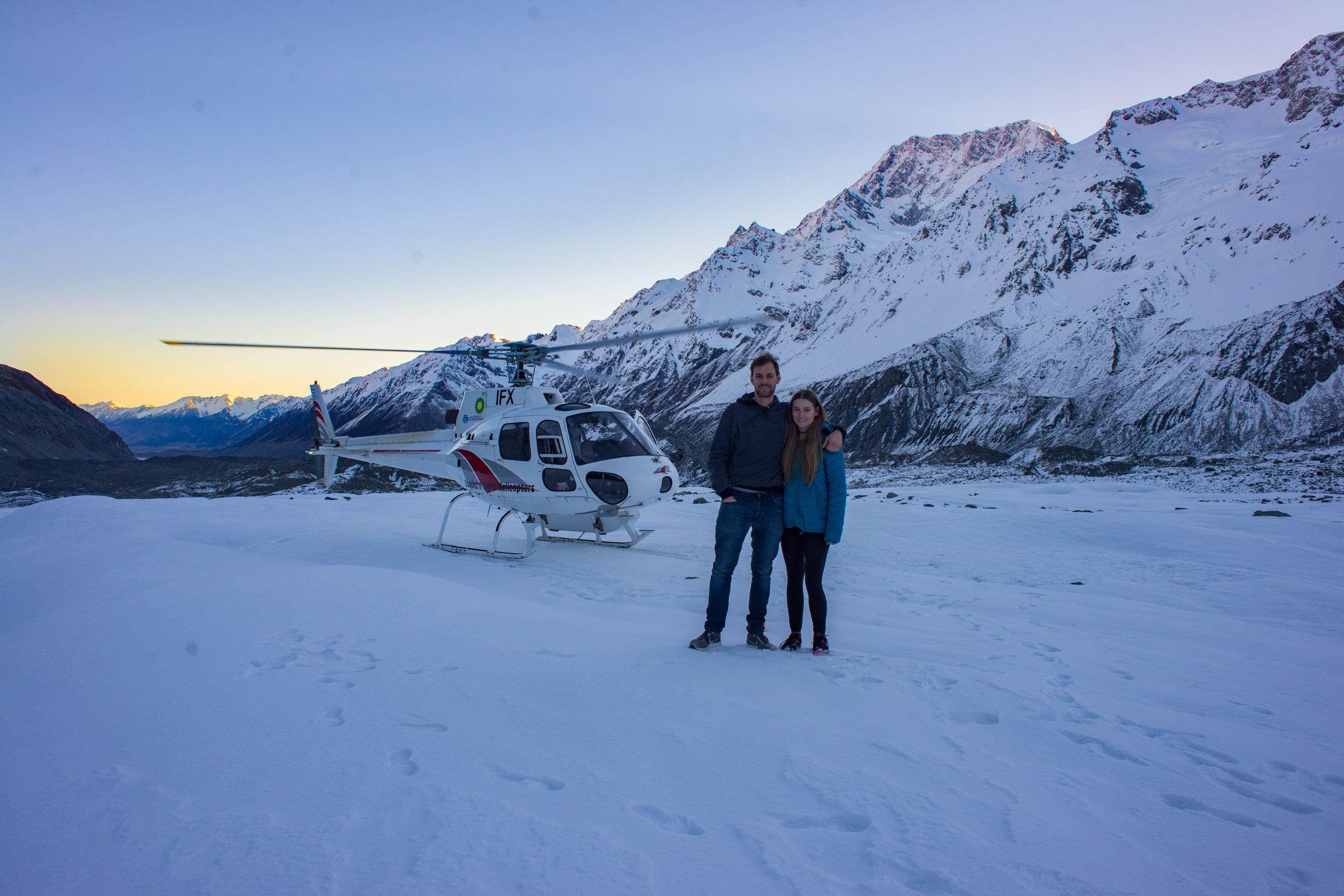 Landing on the Tasman Glacier on a Mount Cook helicopter flight!