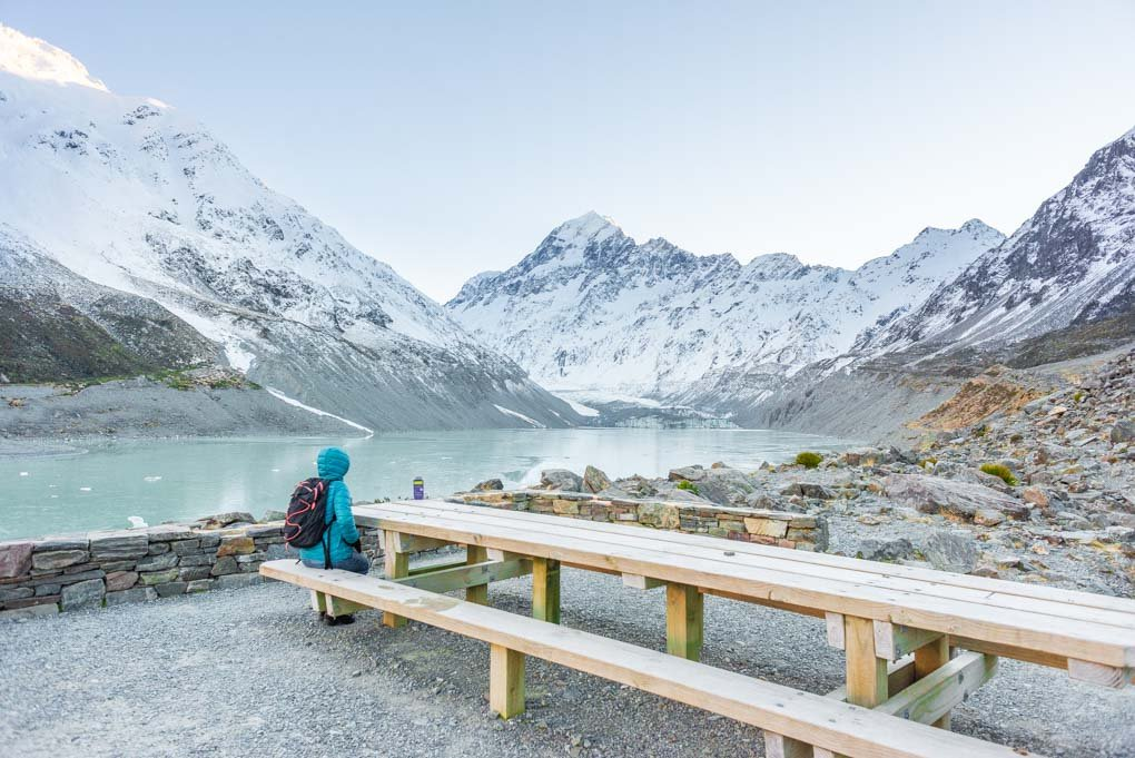 Looking out at Mount Cook from the bench at the end of the Hooker Valley Trail
