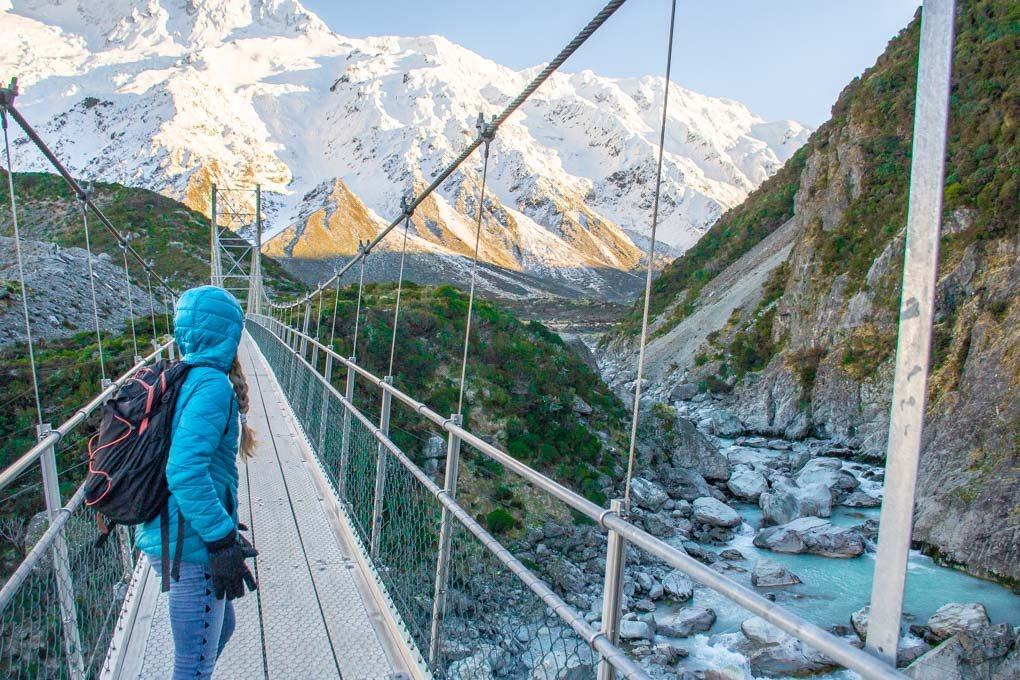 Looking towards Mount Cook on one of the Hooker Valley suspension bridges