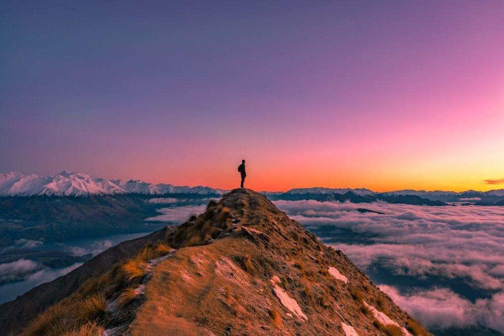 Standing on Roy's Peak at sunrise, Wanaka, New Zealand