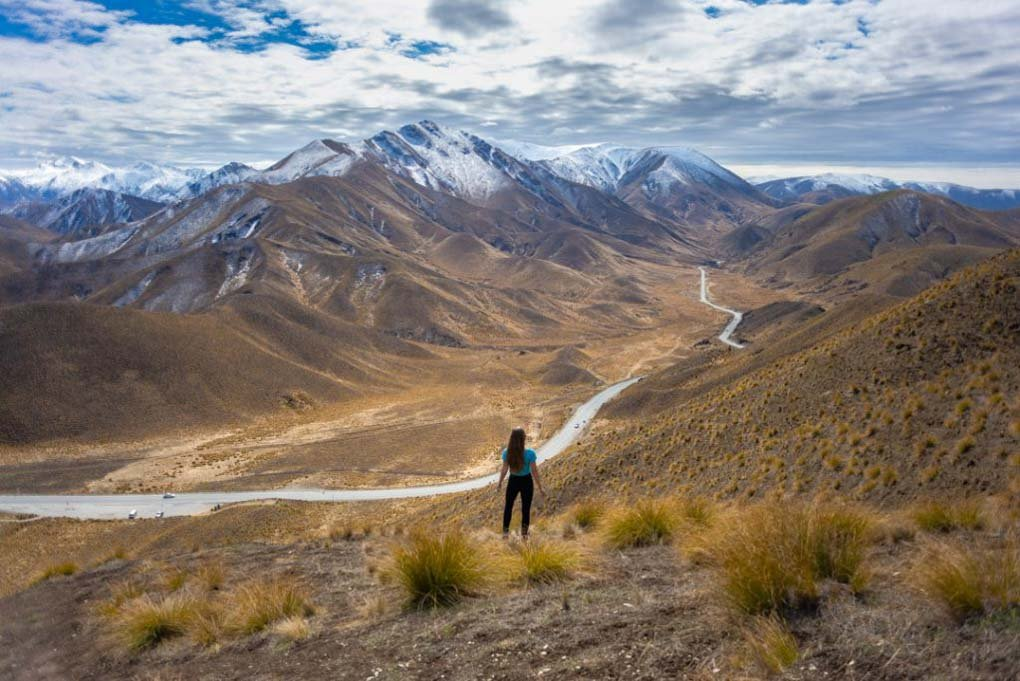 Bailey standing at the top of Lindis Pass New Zealand