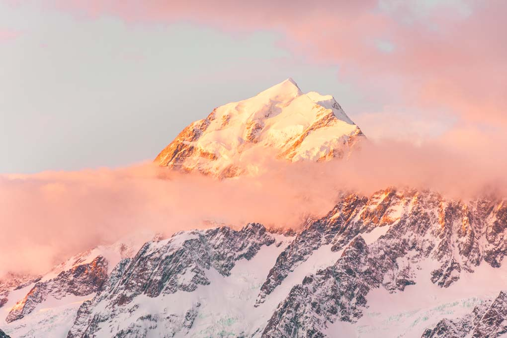A sunrise over Mount Cook on the Hooker Valley Trail.