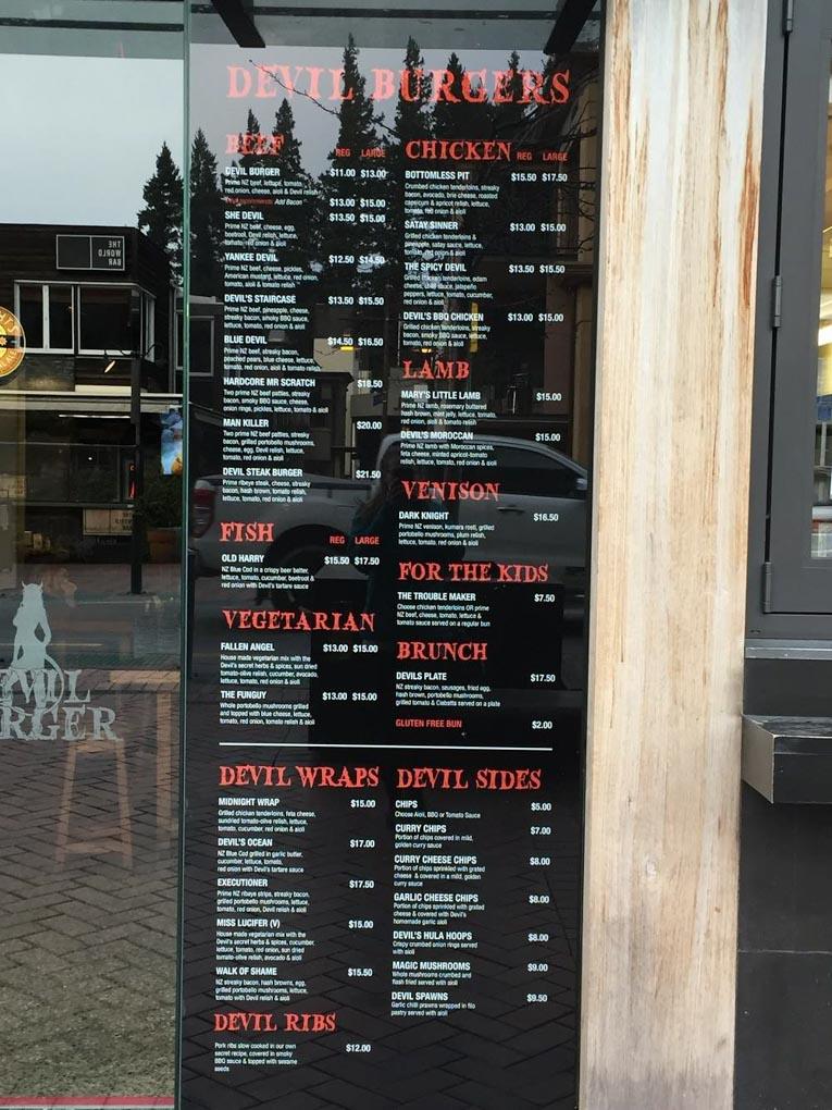 The menu at Devil Burger Queenstown