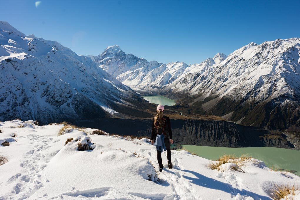 Bailey at the end of the Sealy Tarns Track staring out at the views of Mount Cook, the hooker Lake and Mueller Lake