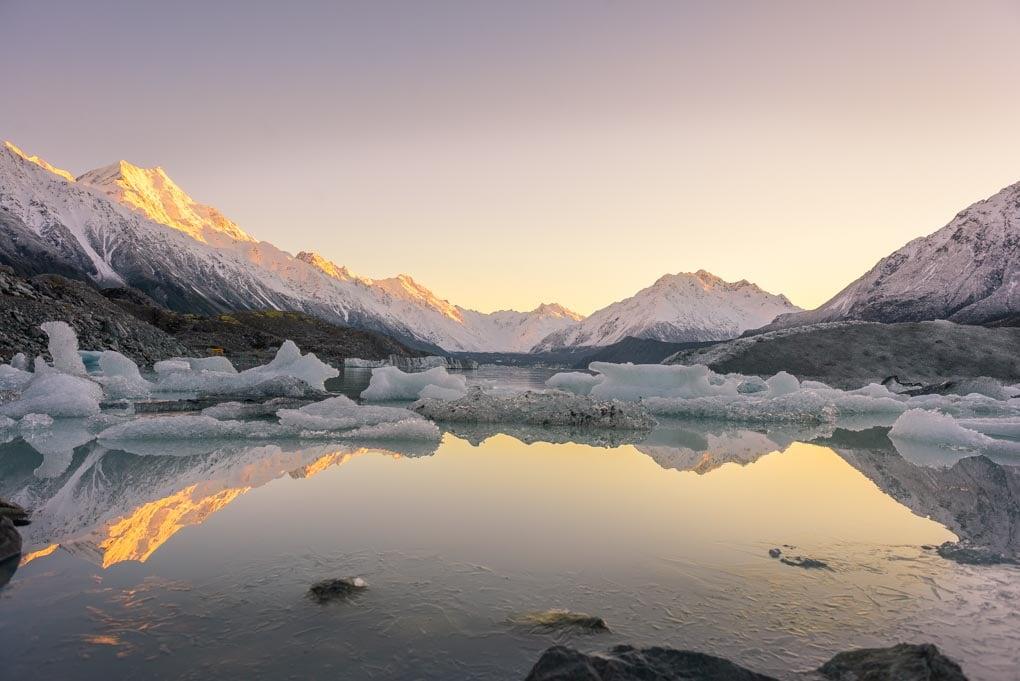 Tha Tasman Lake and Tasman Glacier at sunrise
