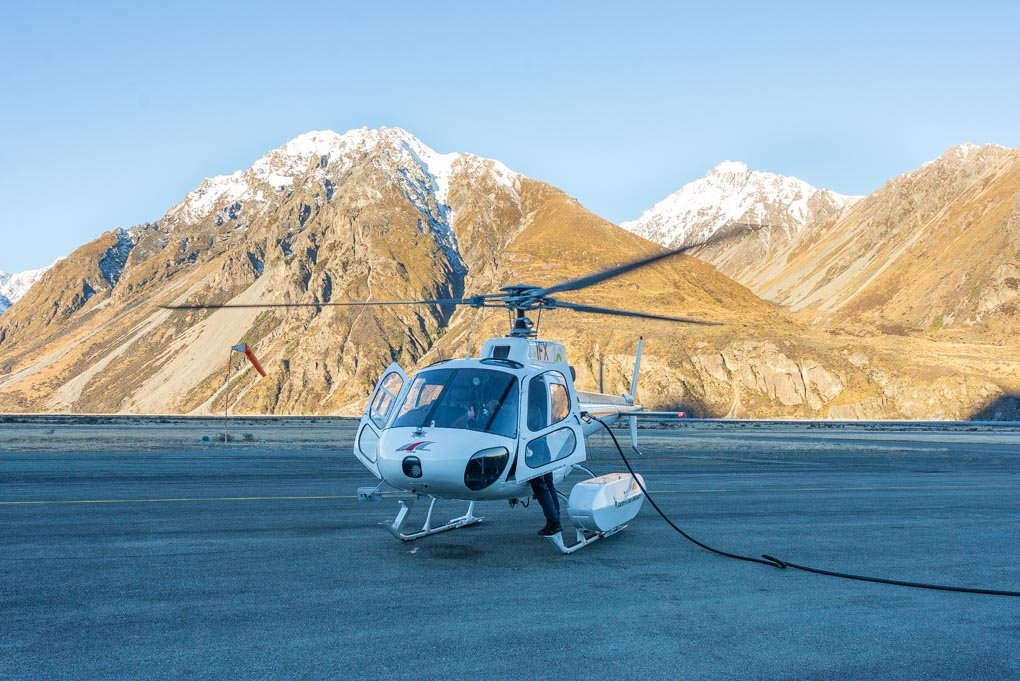 Our Mt Cook helicopter fueling up before leaving