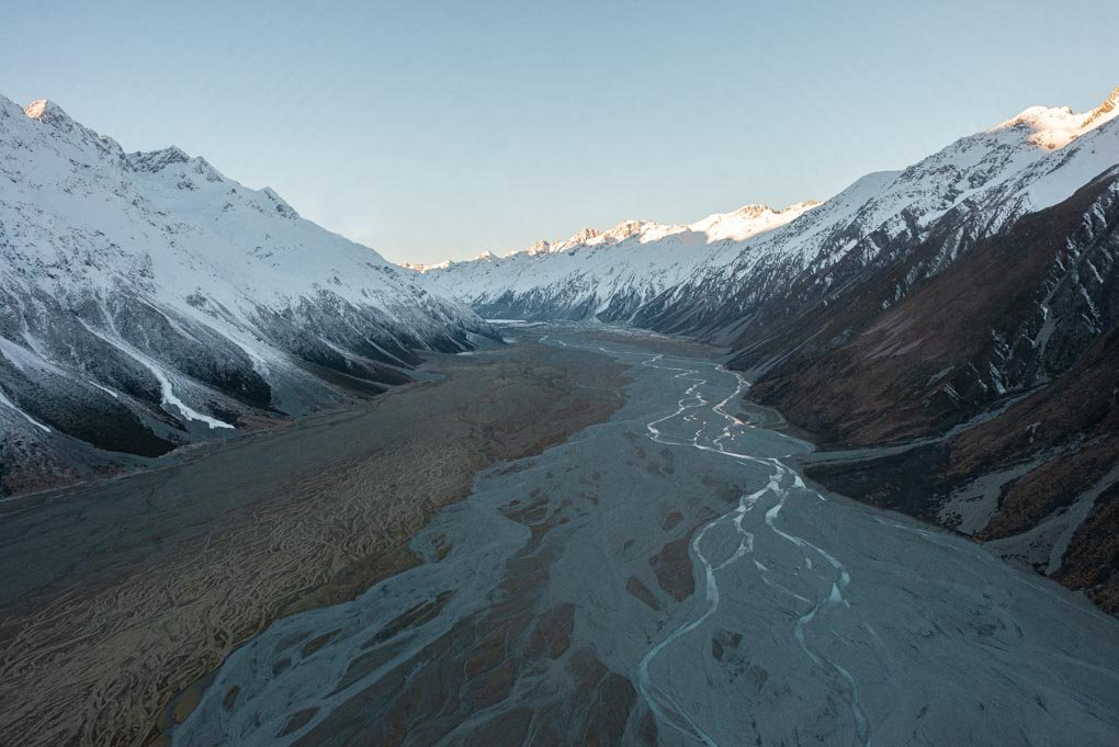 The Valley floor of Mount Cook National Park from a helicopter tour