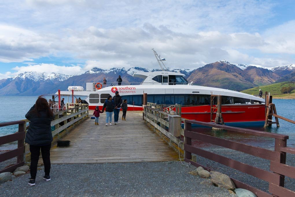 The Spirit of Queenstown ferry docked at the Mt Nicholas Station