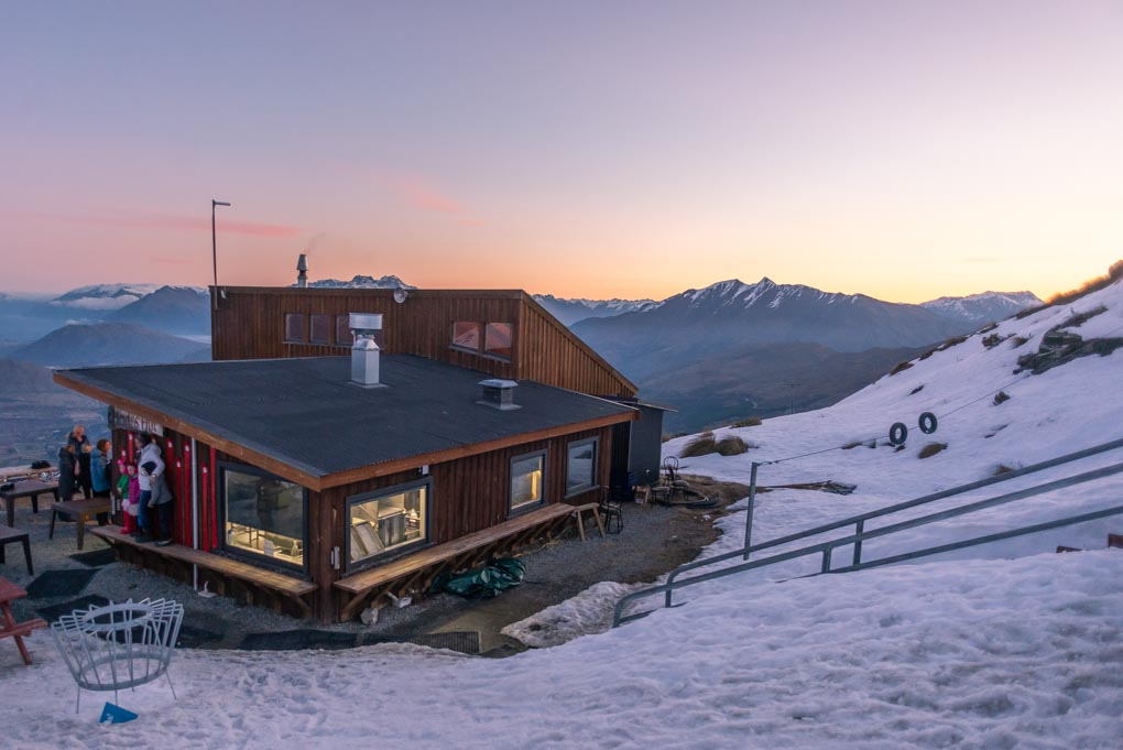 The view of Heidis Hut and the surounding Mountains on Coronet Peak, New Zealand