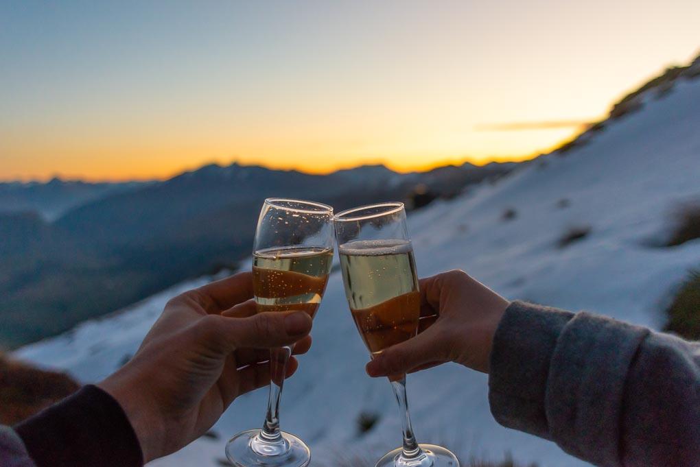 Cheers at Heidi's Hut New Zealand