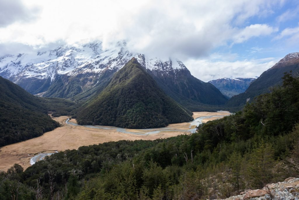 This is a photo of the views on the Routeburn track in New Zealand