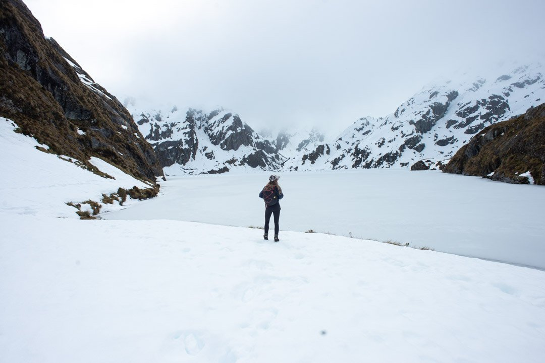 Lake Harris in winter on the Routeburn Track in New Zealand