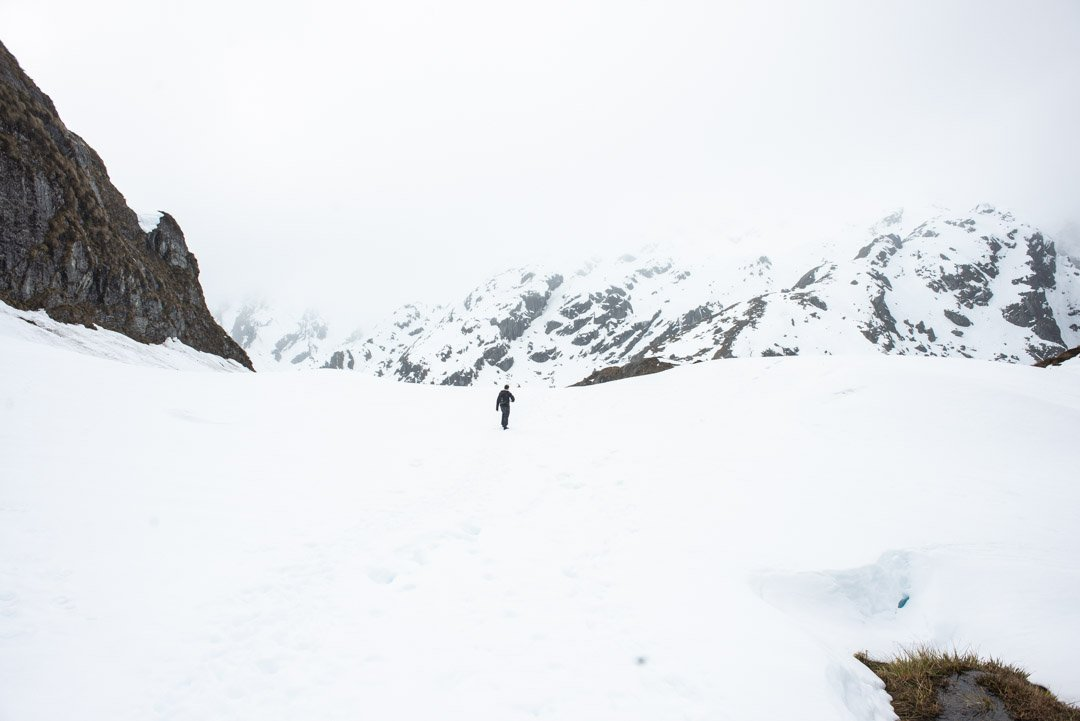Routeburn Track winter hike means you'll be hiking through lots of snow