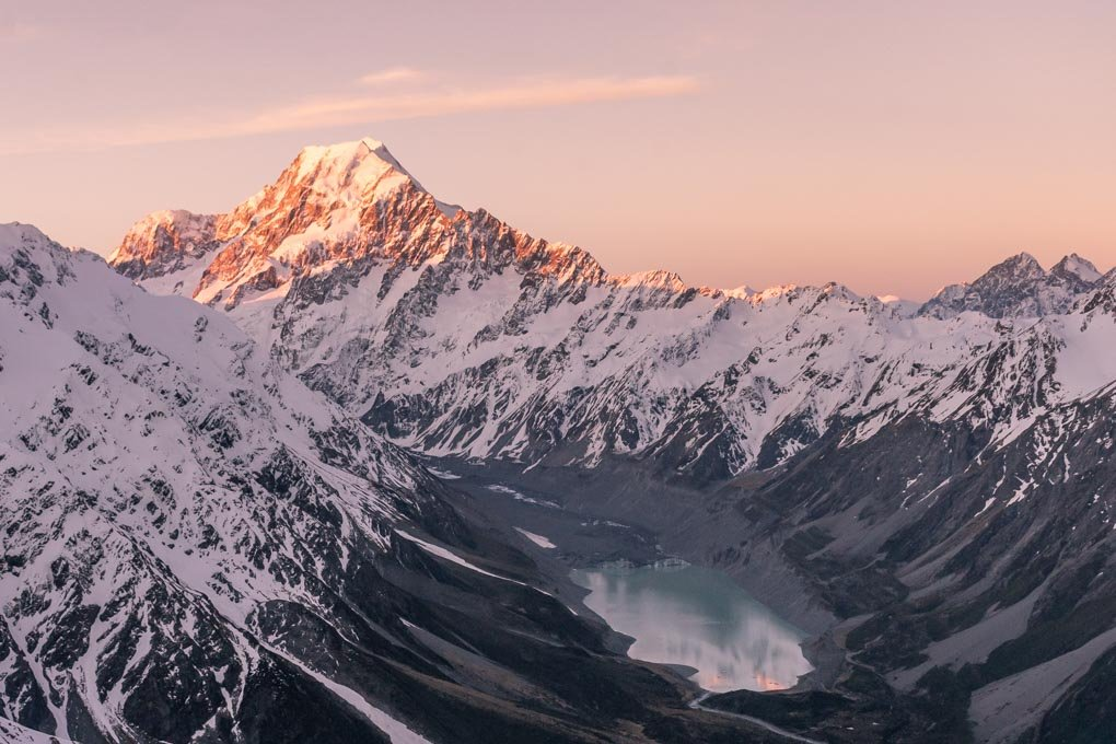Sunset at the mueller Hut looking at Mount Cook