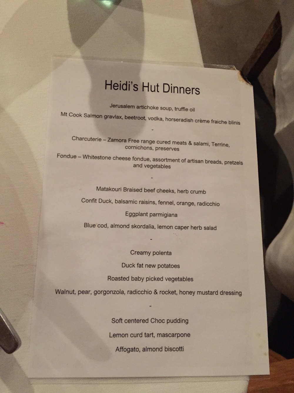 The 2018 Heidi's hut menu