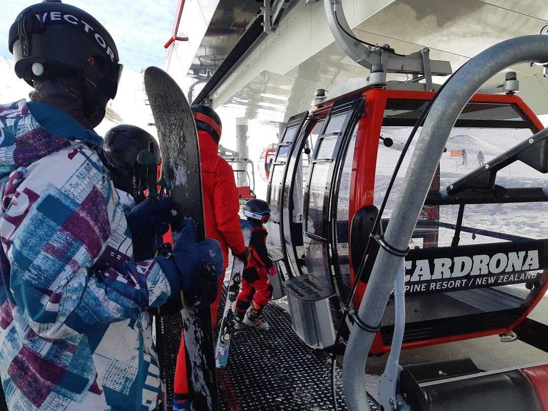 taking the gondola at cardrona