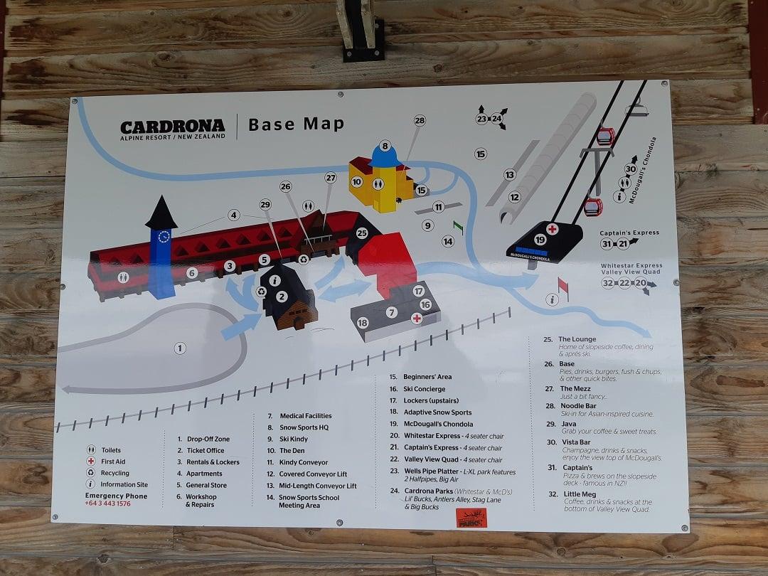 map of the base at cardrona ski resort