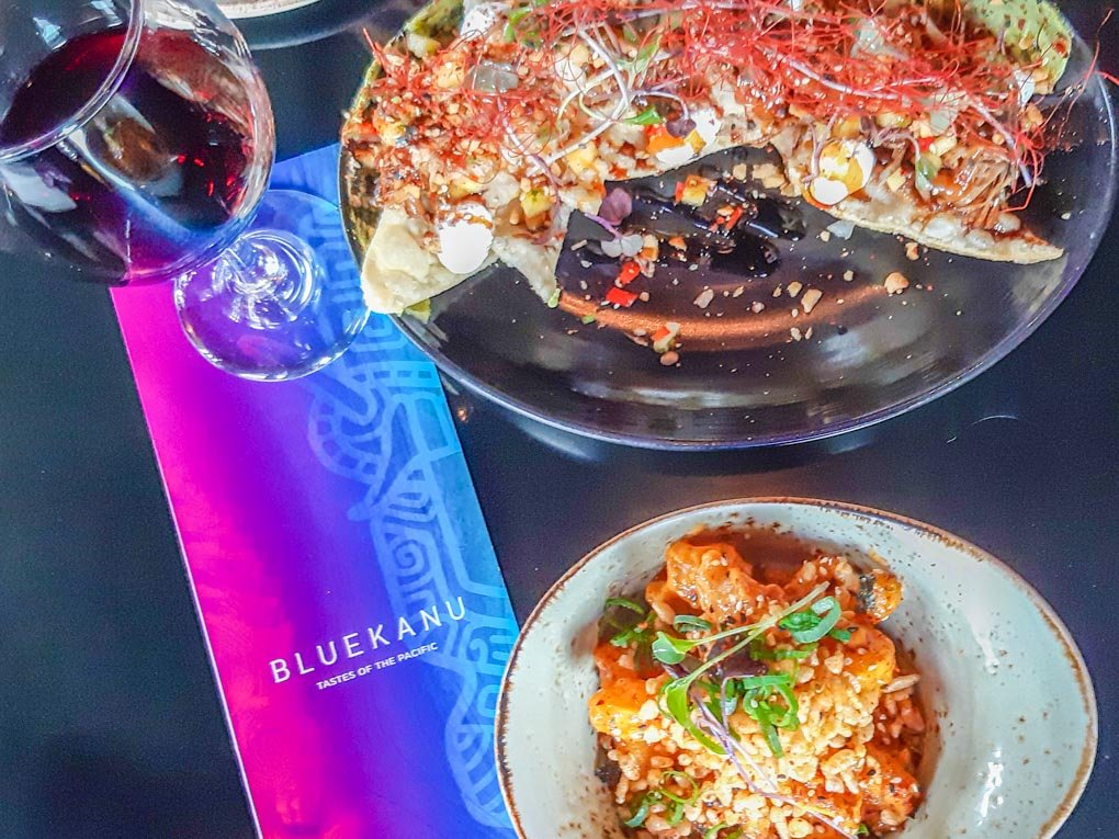 Food and wine at the Blue kanue in Queenstown, New Zealand