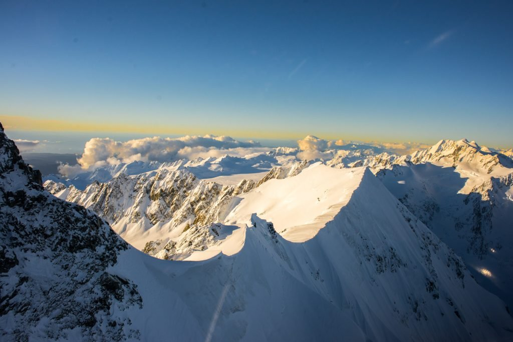 amazing mountain peaks from a helicopter on a scenic flight