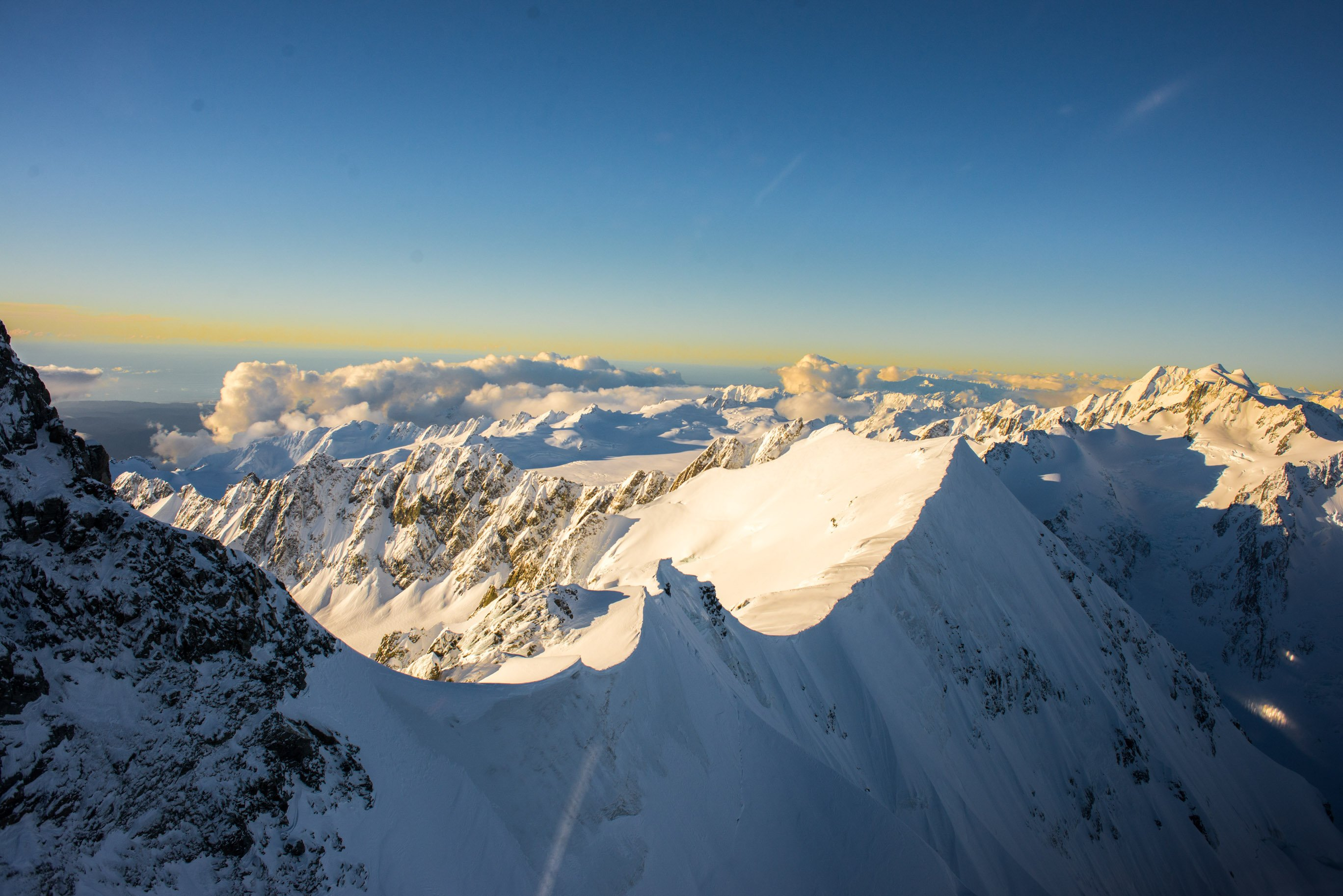amazing mountain peks from above in mount cook