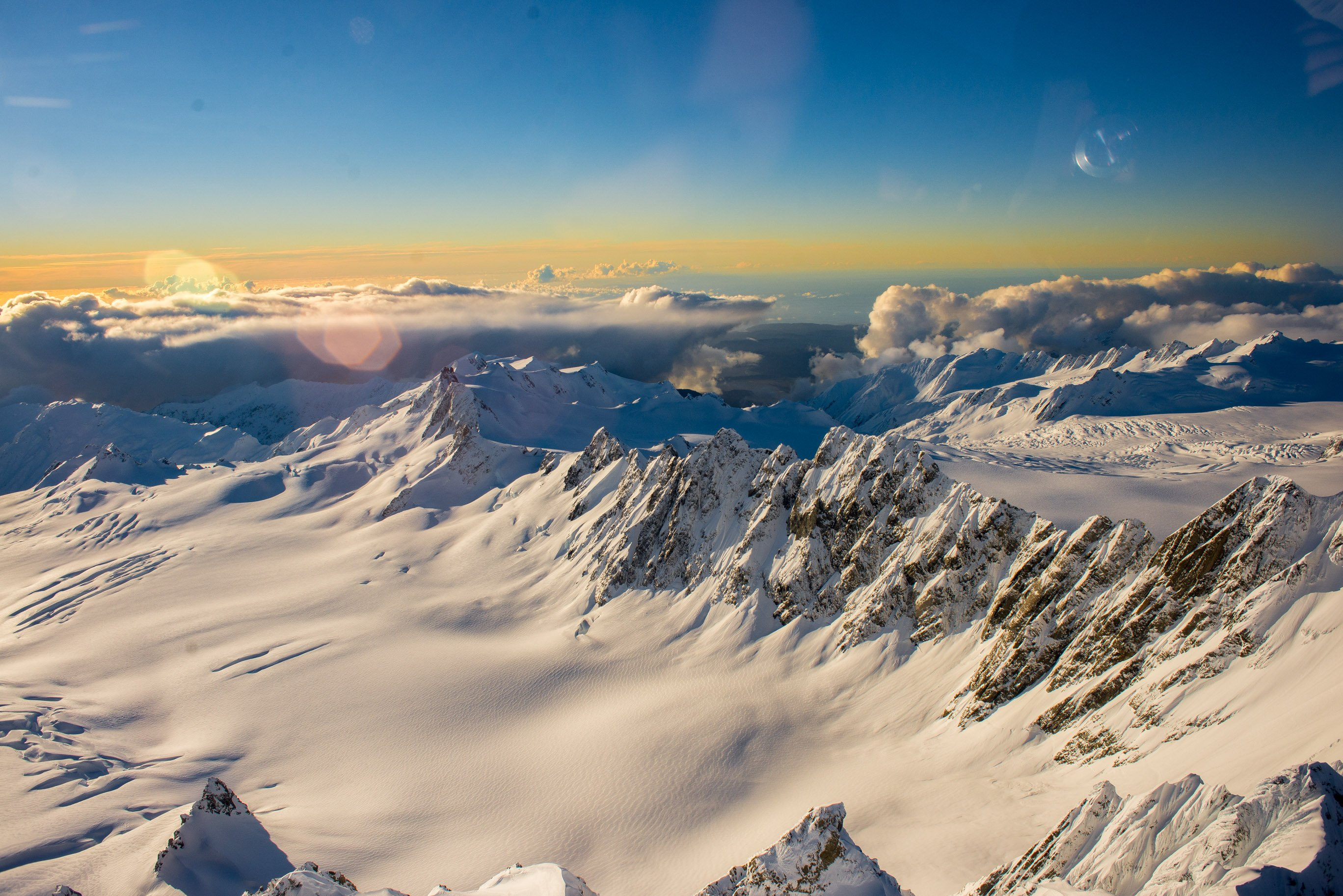 view from a helicopter in mount cook national park