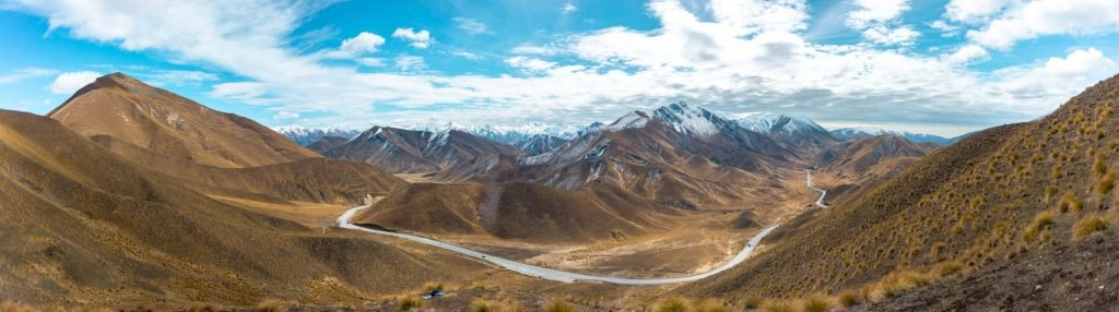 Panoramic photo from the top of the Lindis Pass Lookout
