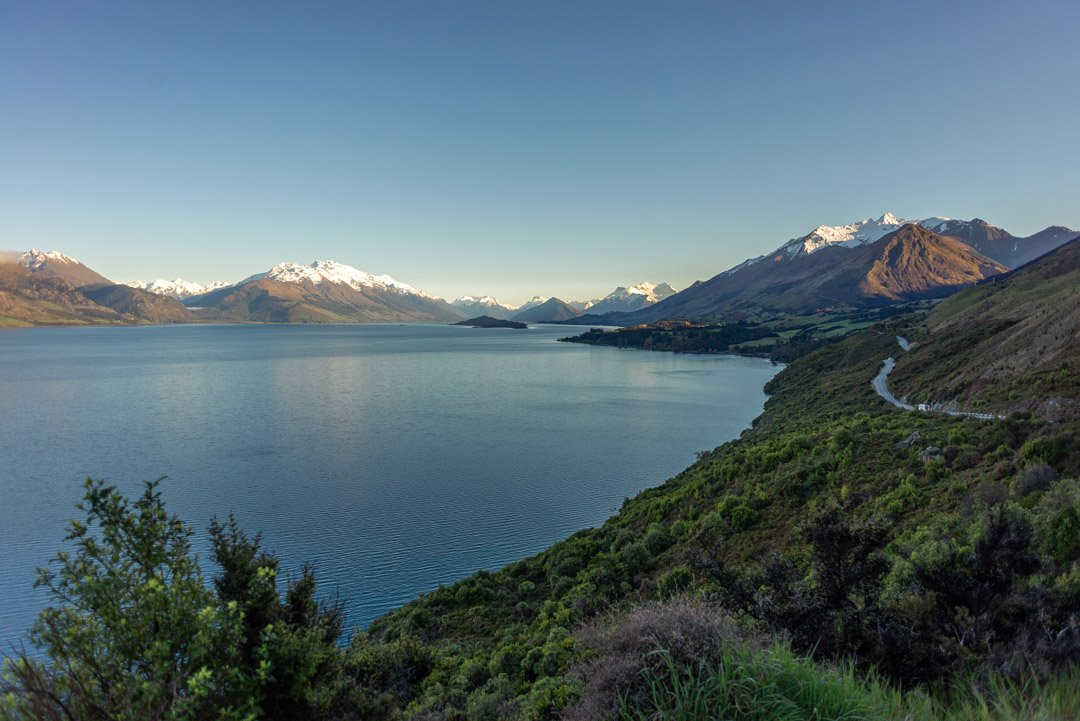 View of the road between Queenstown and Glenorchy running along Lake Wakatipu