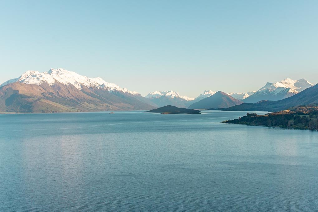 Views of the mountains on the Queenstown to Glenorchy highway
