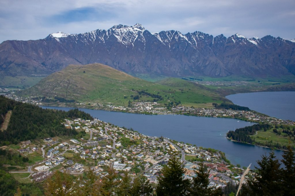 view of queenstown new zealand from above