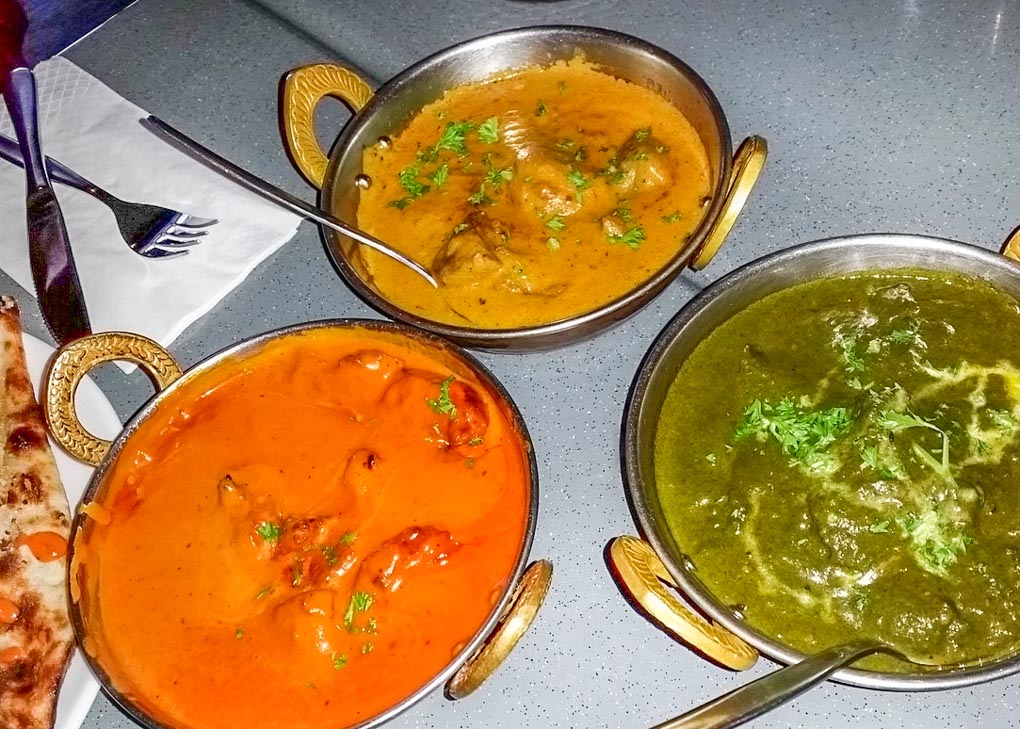 Three curries at Boliwood restaurant in Queenstown