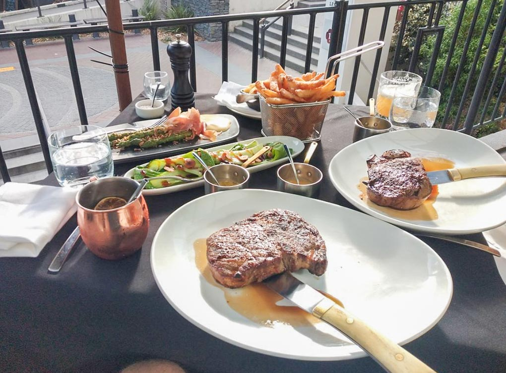 Two steaks and side from Jervois Steak House, Queenstown