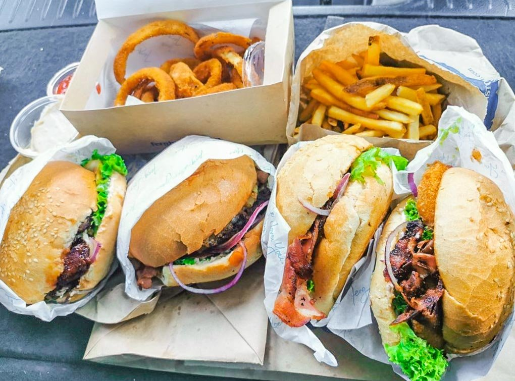 4 burgers and sides at Fergburger in Queenstown