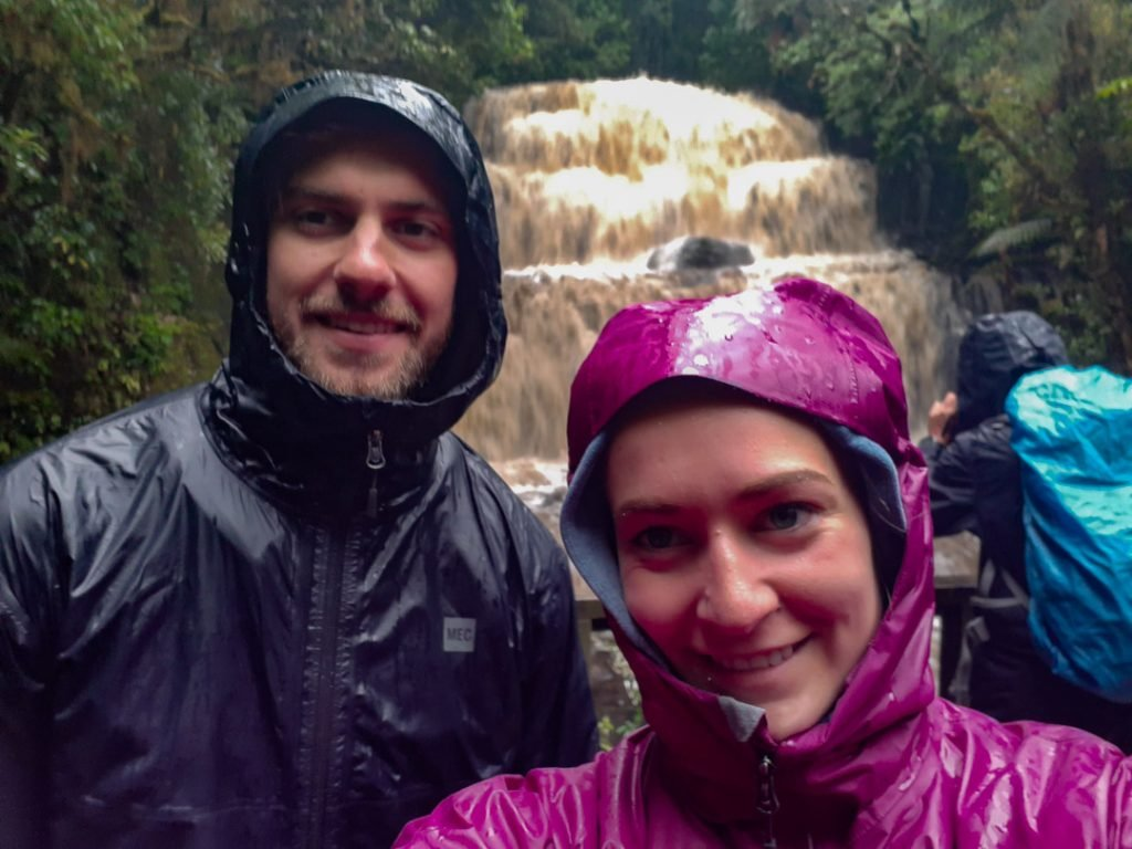 Bailey and I at waterfalls in the Catlins