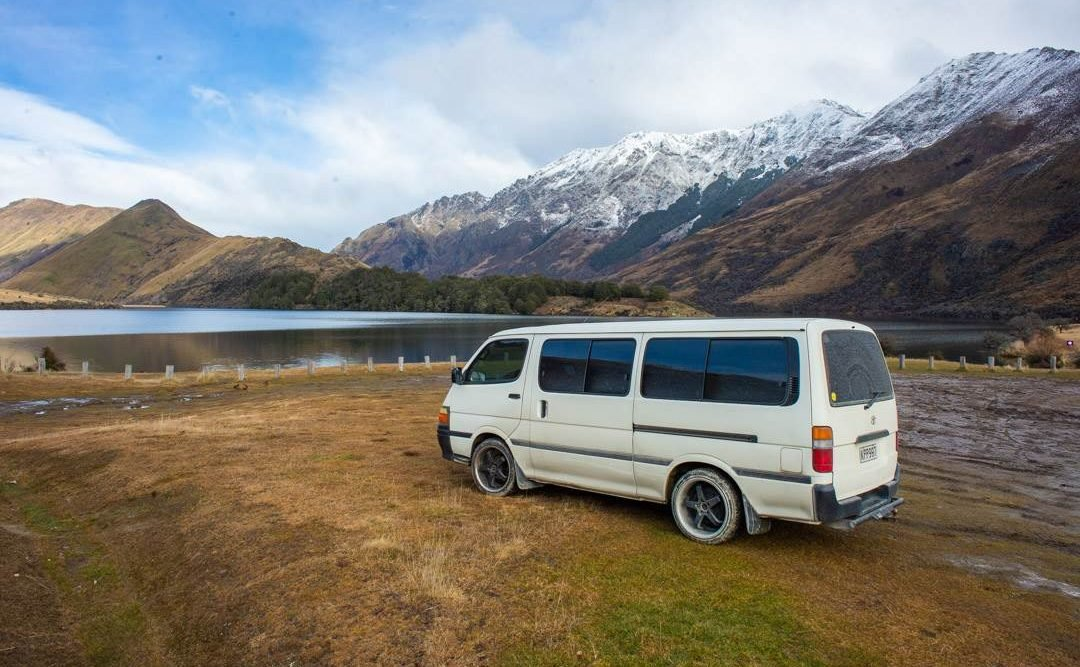 a campervan parked in queenstown new zealand