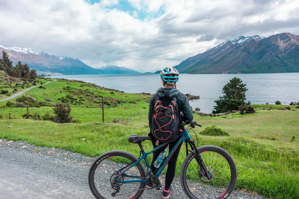 Bailey enoys the views on the bike tour in Queenstown